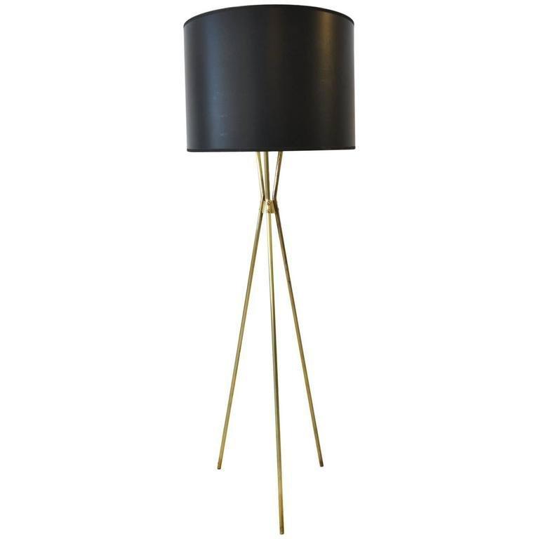 Gerald Thurston For Lightolier Standing Brass Tripod Lamp The