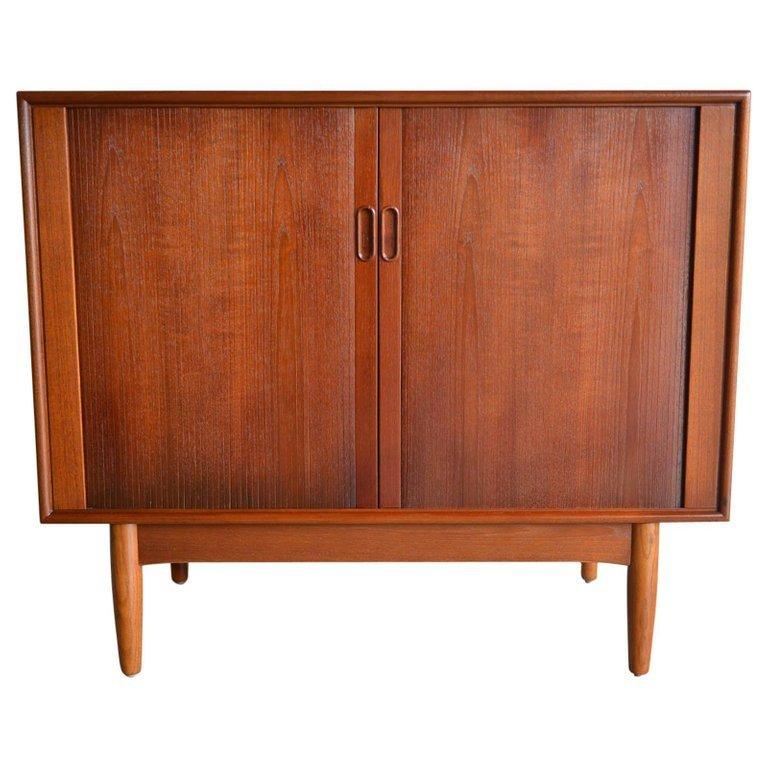 Teak And Oak Tambour Door Cabinet By Hans C Andersen Circa 1965