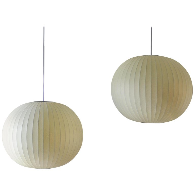 Pair Of Vintage George Nelson Round Bubble Pendant Lights