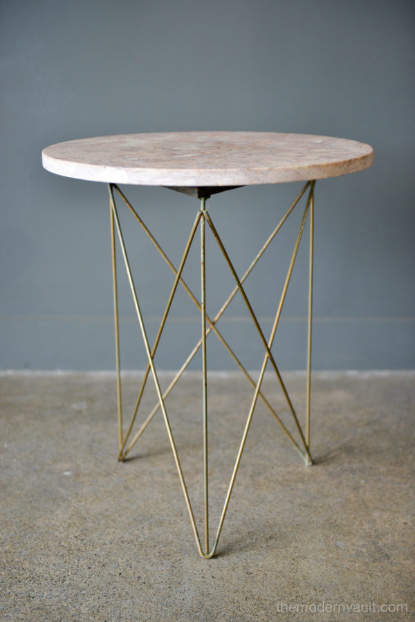 4852dac8af Martin Perfit for Rene Brancusi Stone and Brass Occasional Table, circa 1955