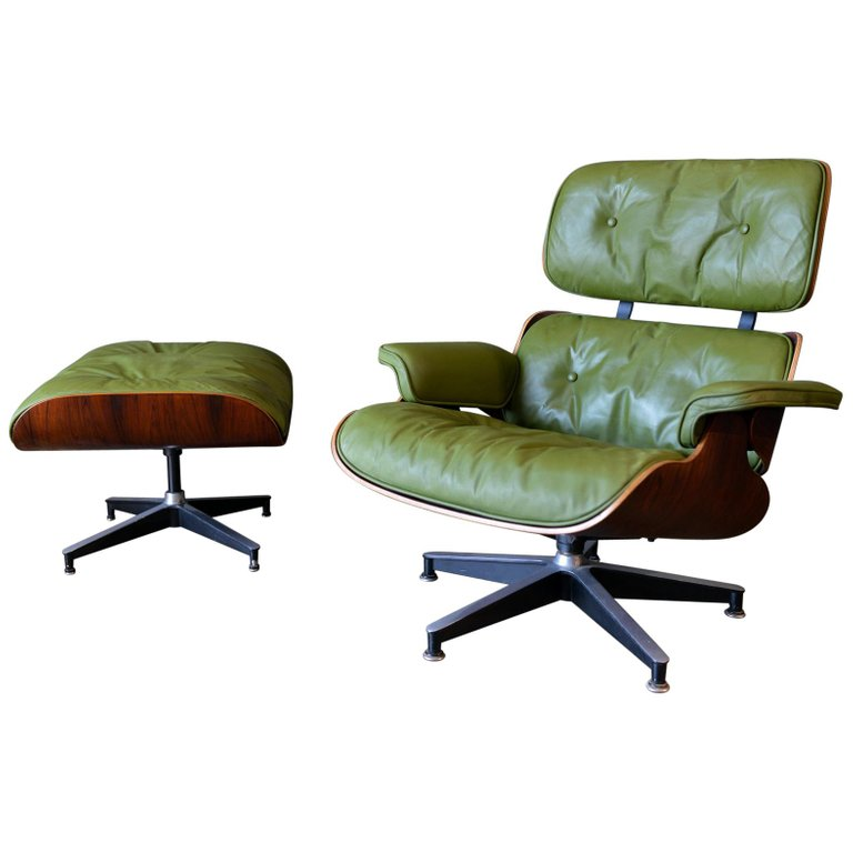 Amazing Avocado Green Leather Eames Lounge Chair And Ottoman 1967 Pabps2019 Chair Design Images Pabps2019Com